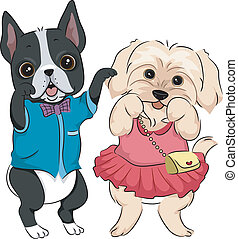 Dog Fashion Show - Illustration Featuring Cute Dogs Wearing...
