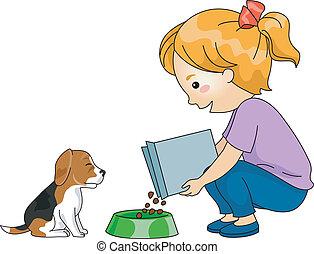 Dog Feeding - Illustration of a Little Girl Feeding Her Dog