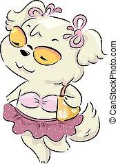 Dog Female Swimsuit Pool Party Illustration