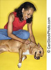 dog., femme, caresser