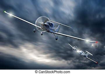 Dog Fight - Two small aircraft in a dog fight, chasing each ...