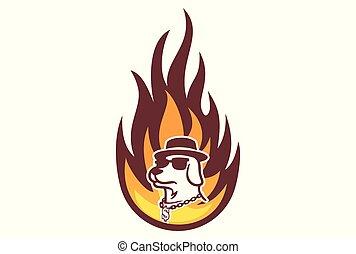dog fire logo dsign