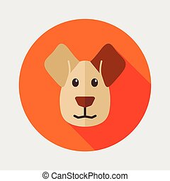 Dog flat icon with long shadow, eps 10