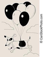 Dog flying on balloons