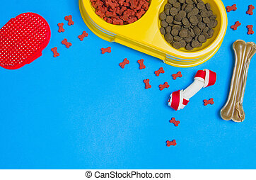 Dog food and accessories on blue background top view