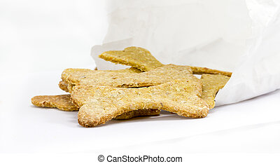 Dog food biscuit with paper bag