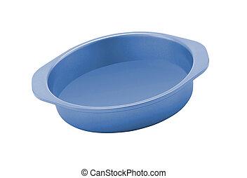 Dog food bowl blue