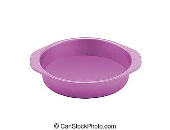 Dog food bowl pink isolated on white background