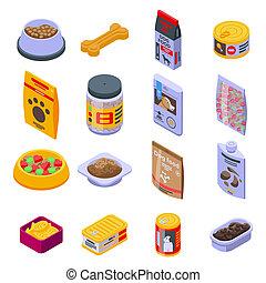 Dog food icons set, isometric style