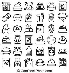 Dog food icons set, outline style