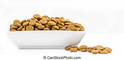 Dog food in a bowl on white background