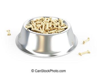 dog food in a metal bowl