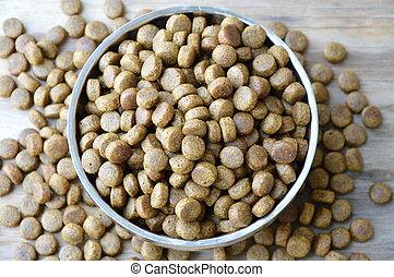dog food in circle stainless bowl