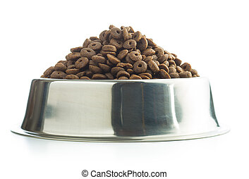Dog food in metal bowl.