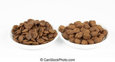 Dog food on plates
