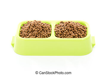 Dog food or cat food in bowl on white background.