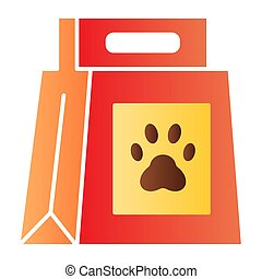 Dog food package flat icon. Dog food with paw mark color icons in trendy flat style. Pet food bag gradient style design, designed for web and app. Eps 10.