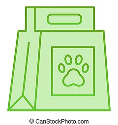 Dog food package flat icon. Dog food with paw mark green icons in trendy flat style. Pet food bag gradient style design, designed for web and app. Eps 10.