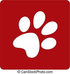 white dog footprint on red blakground