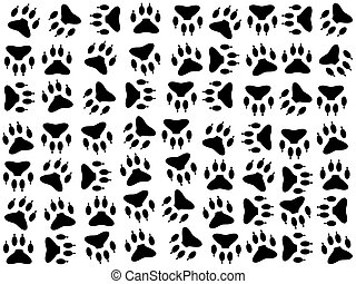 Dog footprints on white - Dog footprints vector background...