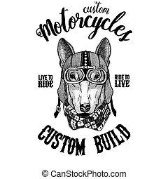 DOG for t-shirt design Biker, motorcycle animal. Hand drawn...