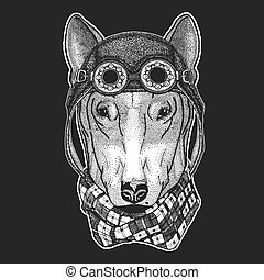 DOG for t-shirt design Hand drawn illustration for tattoo,...