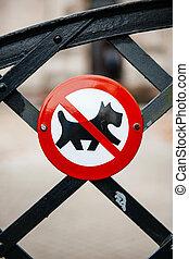 Dog forbidden sign on fence