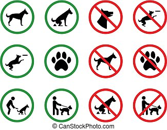 Dog forbidden signs. Dogs permission and restriction silhouette park vector signage