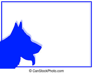Dog frame - Dog portrait in silhouette for this dog frame