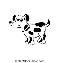 dog., friend., doggie., illustration., ülés, kedves, körvonalazott, elszigetelt, bábu, szétlapít, doggy., vektor, fekete, furfangos, csinos, fiatalúr, fehér, ravasz, legjobb, ravasz