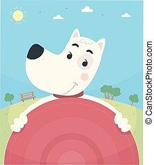 Dog Frisbee Park Illustration
