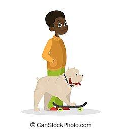 dog., garçon, jeu, enfant, heureux, gosse