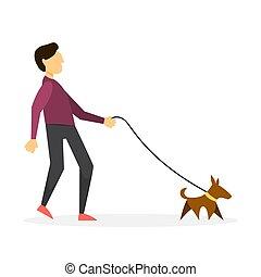 dog., garçon, marche, chouchou, chiot, homme