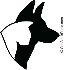 Dog (German shepherd) and cat silhouettes illustration vector