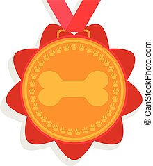 dog gold medal. prize with red ribbon with a picture of a bone and foot marks