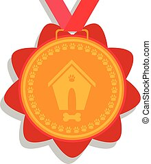 dog gold medal. prize with red ribbon with a picture of a doghouse, bones and foot marks