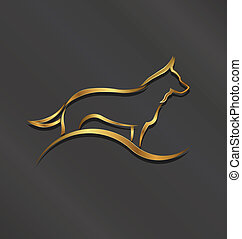 Dog gold styled silhouette logo