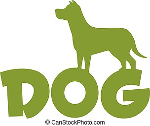 Dog Green Silhouette Over Text