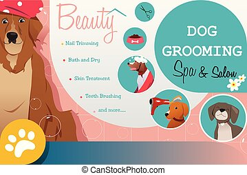 Dog Grooming Salon Poster Illustration
