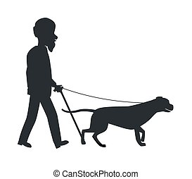 Dog Guide Silhouette Old Man Holding Pet Vector - Old man...