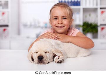 dog, haar, veeartsenijkundig, slapend, tafel, klein meisje, arts, puppy, examen