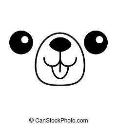 Dog happy square face head icon. Contour line silhouette. Cute cartoon puppy character. Kawaii animal. Funny baby pooch. Love Greeting card. Flat design. White background Isolated.