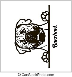 dog head, Boerboel breed, black and white illustration