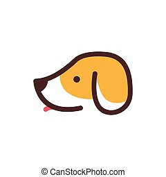 dog head pet care cartoon logo vector icon