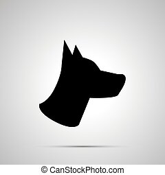 Dog head silhouette, simple black icon