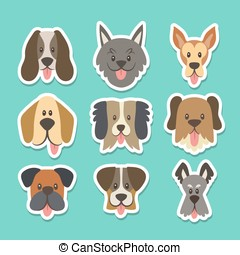 Dog head sticker collection