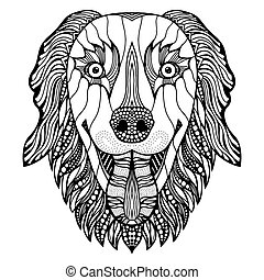 dog head zentangle - Dog head zentangle stylized, vector,...