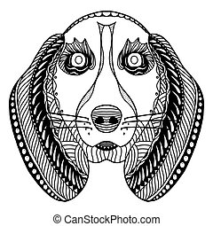 dog head zentangle