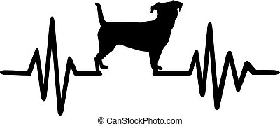 Heartbeat pulse line dog with jack russel silhouette black