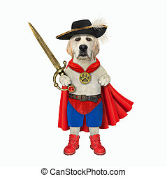 Dog hero armed with sword